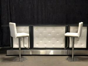 Black and White Tufted Bar and Stools