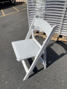 21 White Padded Resin Chairs